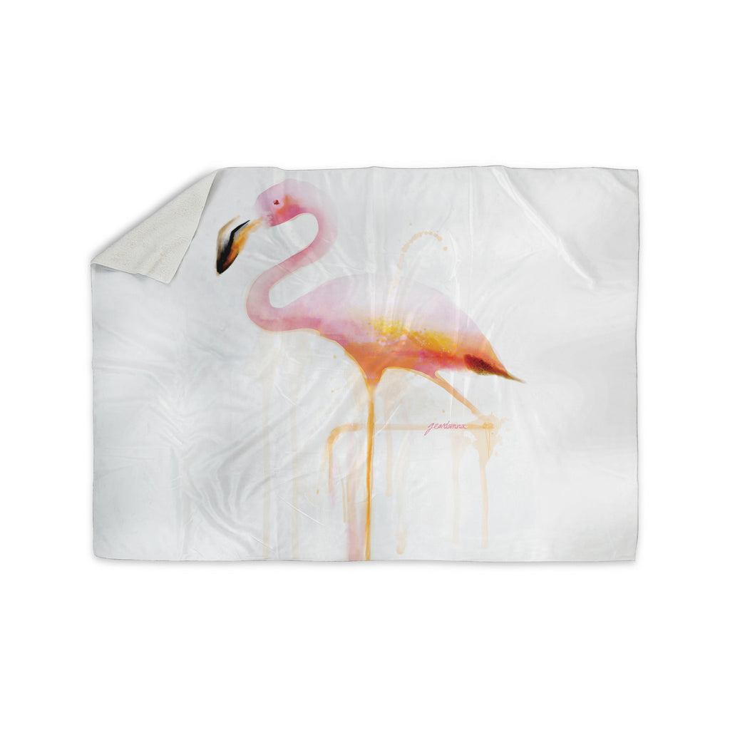 "Geordanna Cordero-Fields ""My Flamingo"" Pink White Sherpa Blanket - KESS InHouse  - 1"