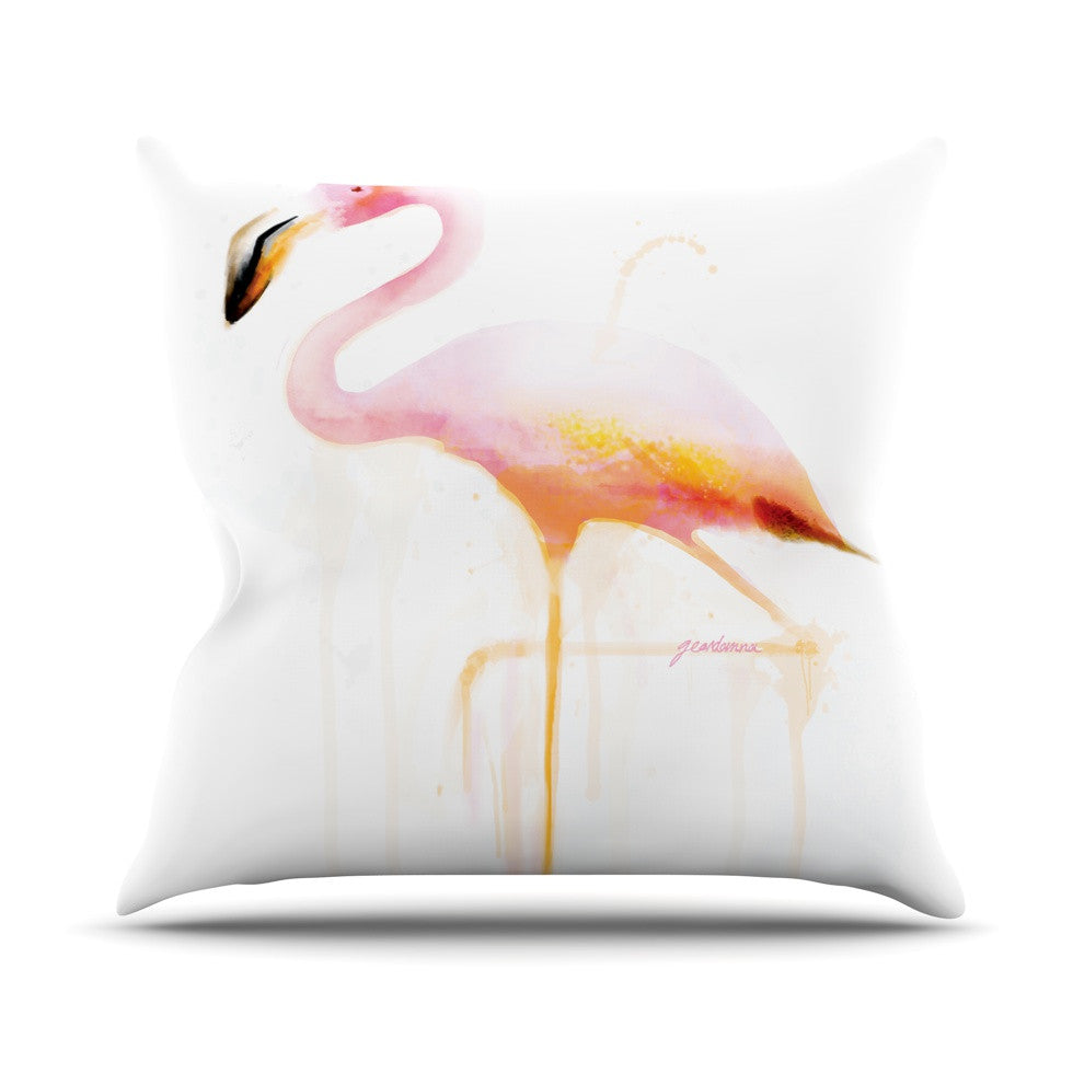 "Geordanna Cordero-Fields ""My Flamingo"" Pink White Throw Pillow - KESS InHouse  - 1"