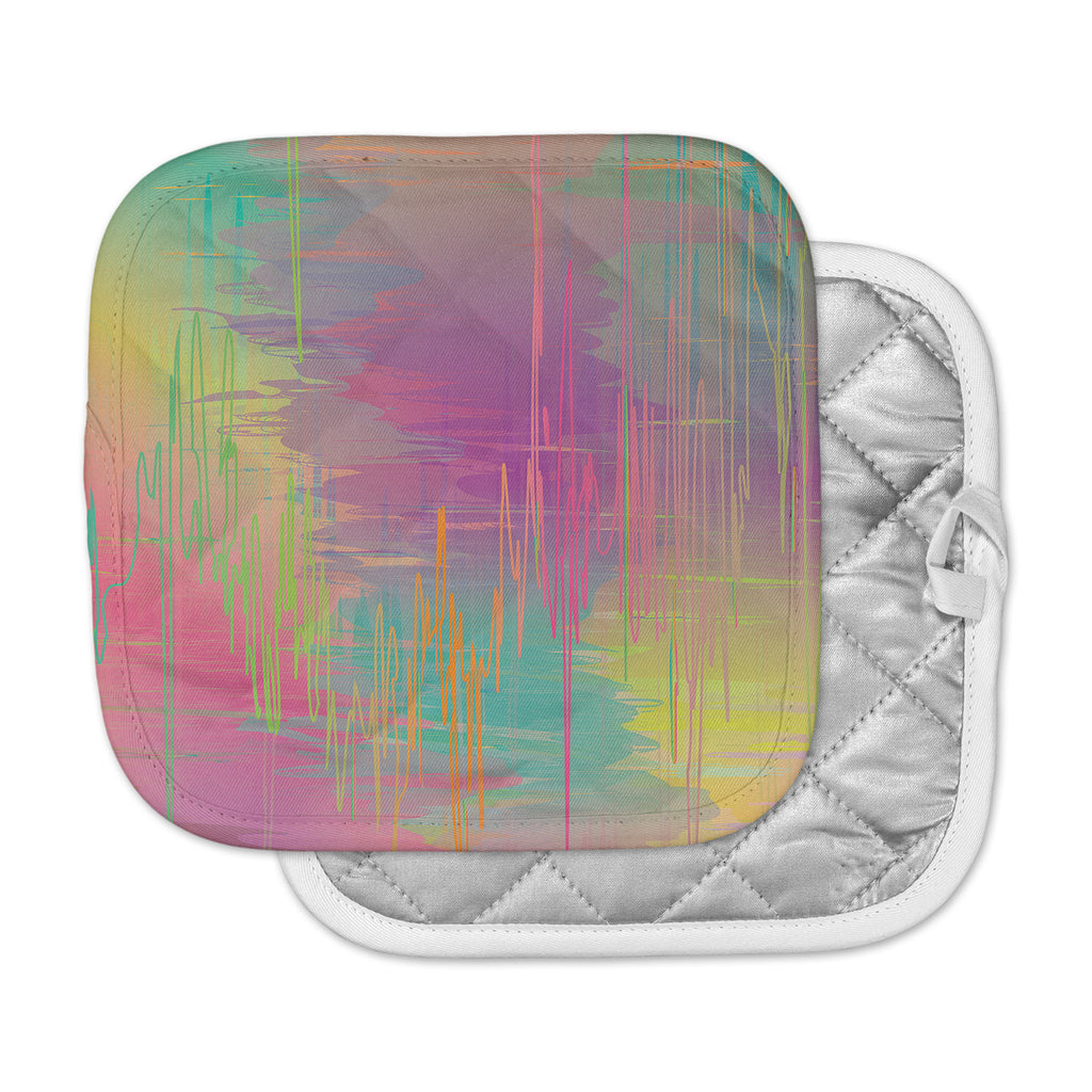 "Graphic Tabby ""Rainbow Storm"" Multicolor Abstract Pot Holder"