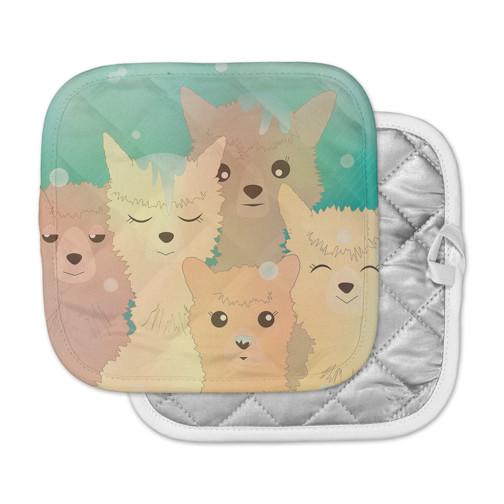 "Graphic Tabby ""Alpacas In Snow"" Pastel Animals Pot Holder"