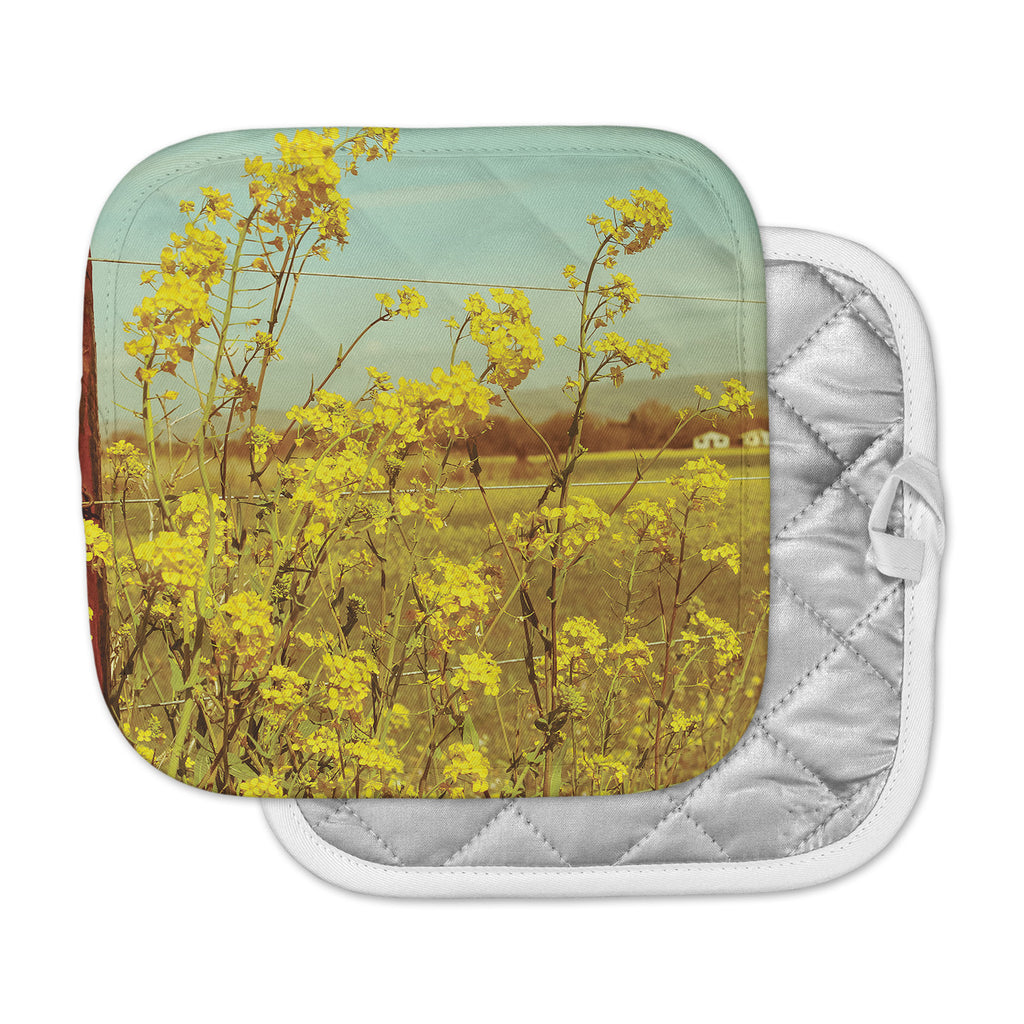 "Graphic Tabby ""Spring Breeze"" Yellow Photography Pot Holder"