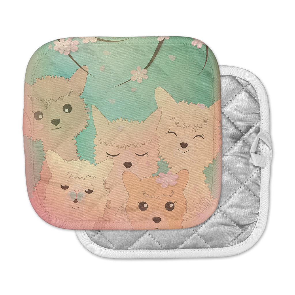 "Graphic Tabby ""Spring Alpacas"" Pastel Animals Pot Holder"