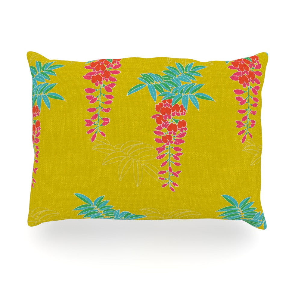 "Gukuuki ""Ipanema"" Yellow Oblong Pillow - KESS InHouse"