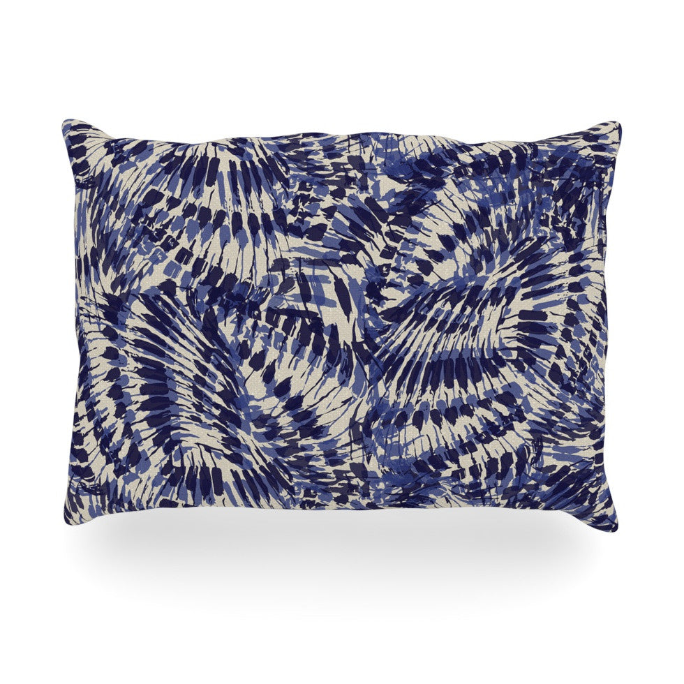 "Gukuuki ""Iggy Palms"" Navy Blue Oblong Pillow - KESS InHouse"
