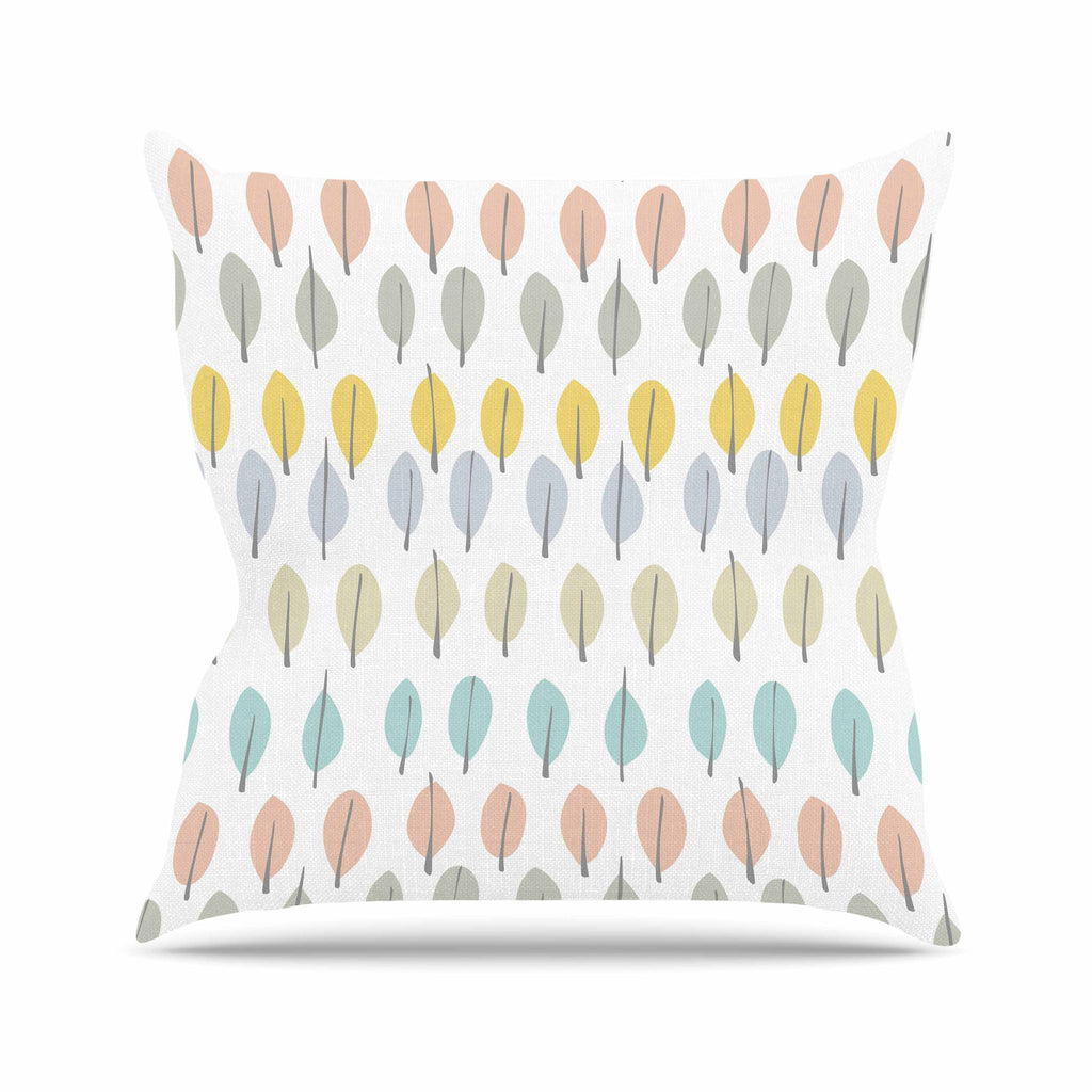 "Gukuuki ""Simple Leaves"" Multicolor Nature Outdoor Throw Pillow - KESS InHouse  - 1"