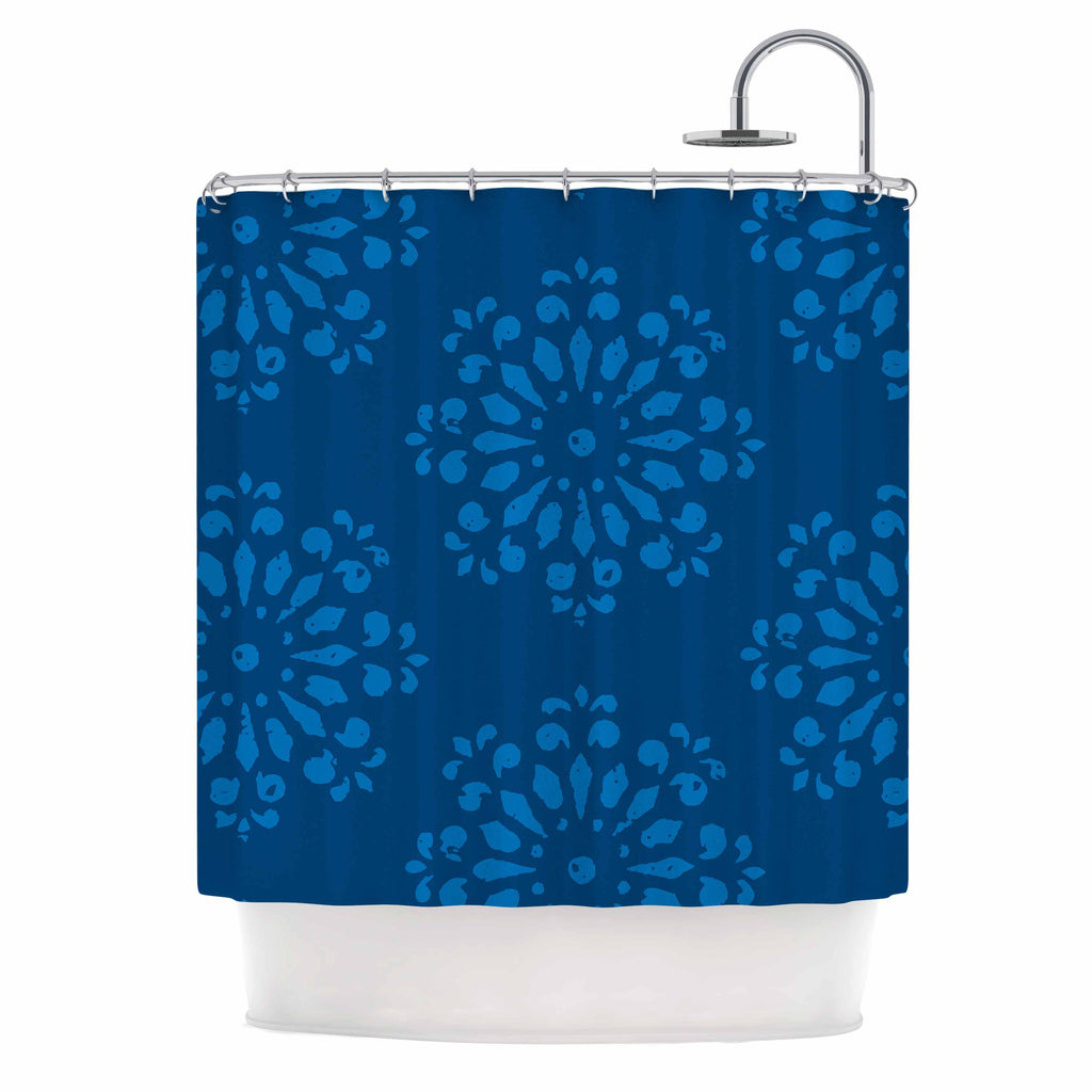 "Gukuuki ""Blue Taylor"" Navy Damask Shower Curtain - KESS InHouse"