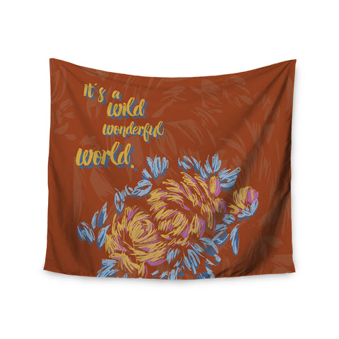 "Gukuuki ""WONDERFUL WORLD"" Brown Typograpgy Wall Tapestry - Outlet Item"