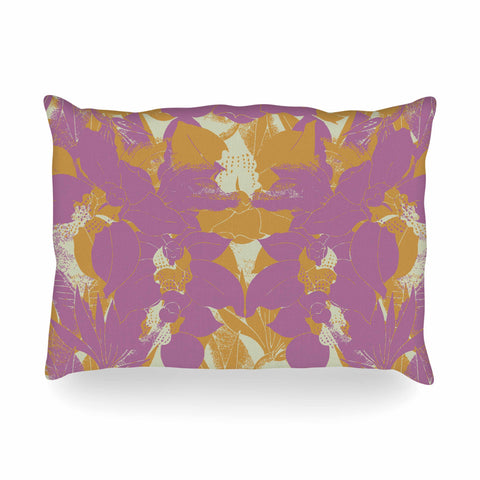 "Gukuuki ""EDEN II"" Blue Tan Pattern Geometric Vector Illustration Oblong Pillow"