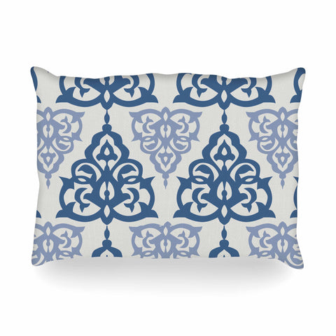 "Gukuuki ""MOSHAA III"" Blue Olive Floral Pattern Digital Mixed Media Oblong Pillow"