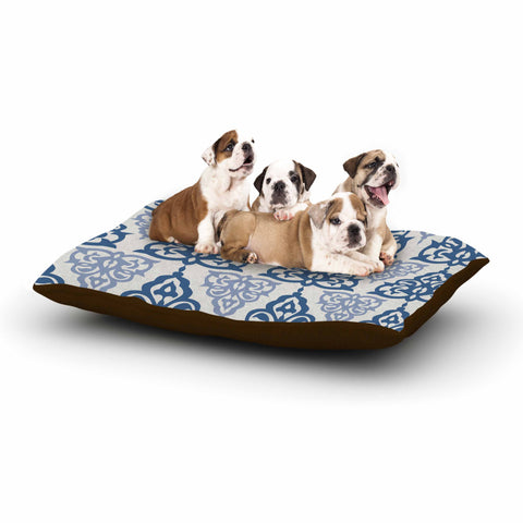 "Gukuuki ""MOSHAA III"" Blue Olive Floral Pattern Digital Mixed Media Dog Bed"