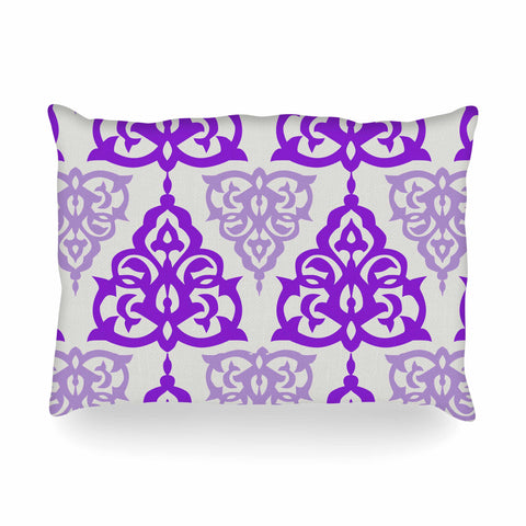"Gukuuki ""MOSHAA I"" Lavender Maroon Floral Urban Digital Illustration Oblong Pillow"