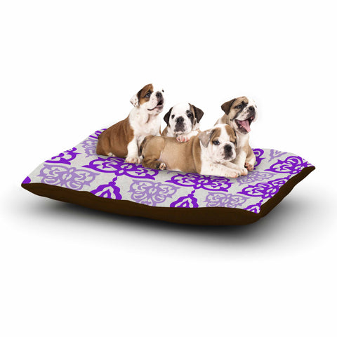 "Gukuuki ""MOSHAA I"" Lavender Maroon Floral Urban Digital Illustration Dog Bed"