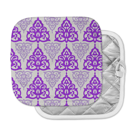 "Gukuuki ""MOSHAA I"" Lavender Maroon Floral Urban Digital Illustration Pot Holder"