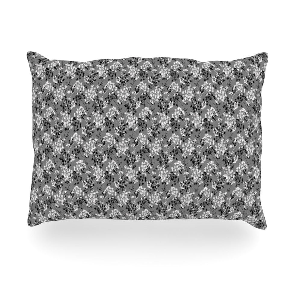 "Holly Helgeson ""Dandy"" Grey Floral Oblong Pillow - KESS InHouse"