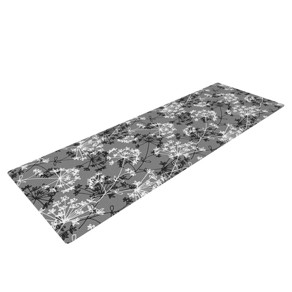 "Holly Helgeson ""Dandy"" Grey Floral Yoga Mat - KESS InHouse  - 1"