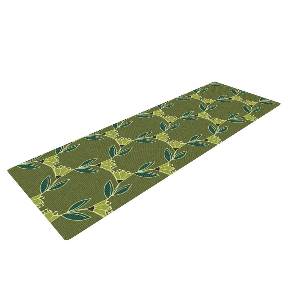 "Holly Helgeson ""Flora Vine"" Olive Green Yoga Mat - KESS InHouse  - 1"
