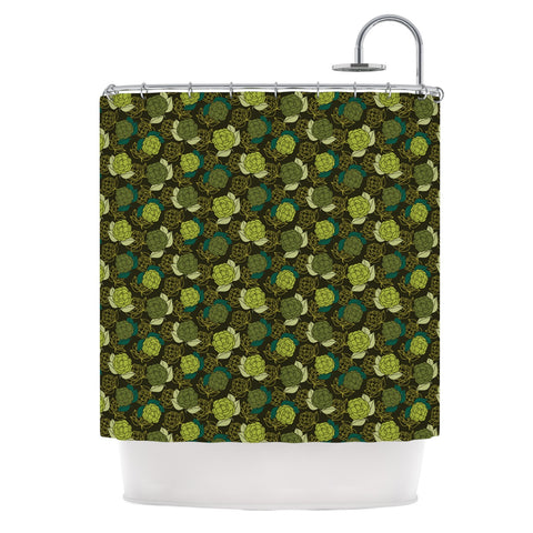 "Holly Helgeson ""Camillia Dark"" Forest Green Shower Curtain - KESS InHouse"