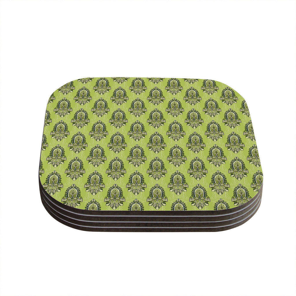 "Holly Helgeson ""Deco Flourish"" Green Pattern Coasters (Set of 4)"