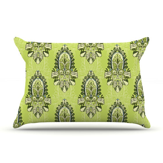 "Holly Helgeson ""Deco Flourish"" Green Pattern Pillow Sham - KESS InHouse"