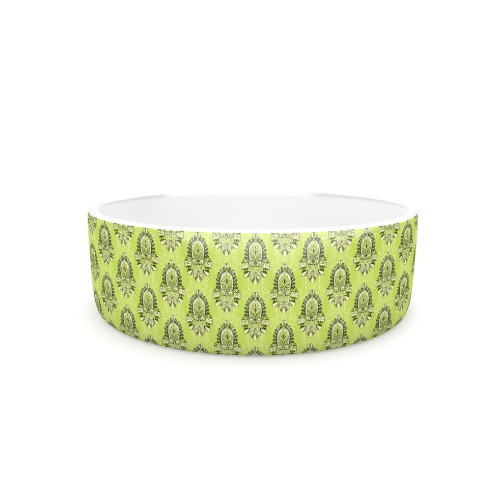"Holly Helgeson ""Deco Flourish"" Green Pattern Pet Bowl - KESS InHouse"