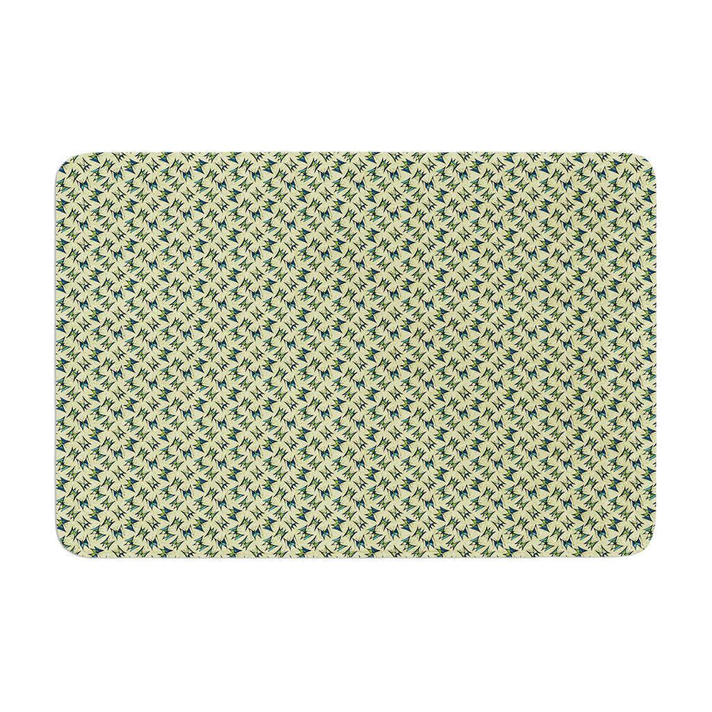 "Holly Helgeson ""Flutterby"" Yellow Lime Memory Foam Bath Mat - KESS InHouse"