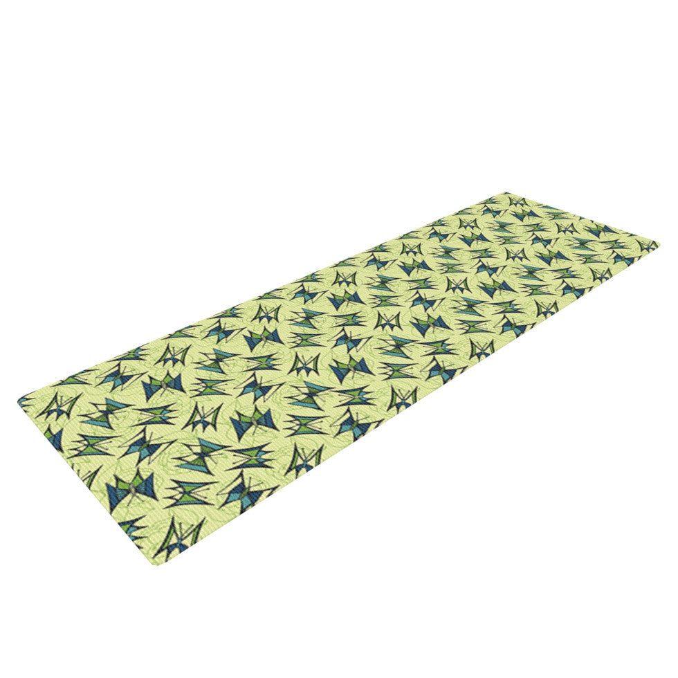 "Holly Helgeson ""Flutterby"" Yellow Lime Yoga Mat - KESS InHouse  - 1"