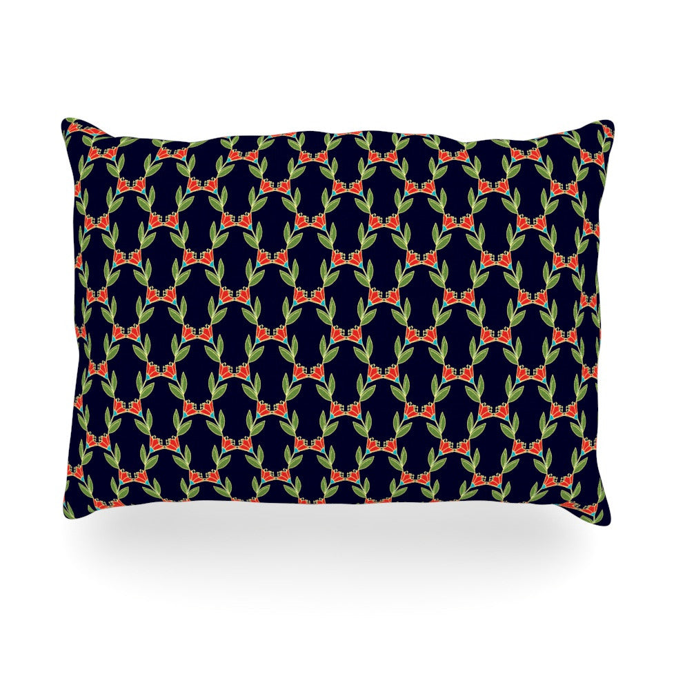 "Holly Helgeson ""Midnight Vine"" Black Pattern Oblong Pillow - KESS InHouse"