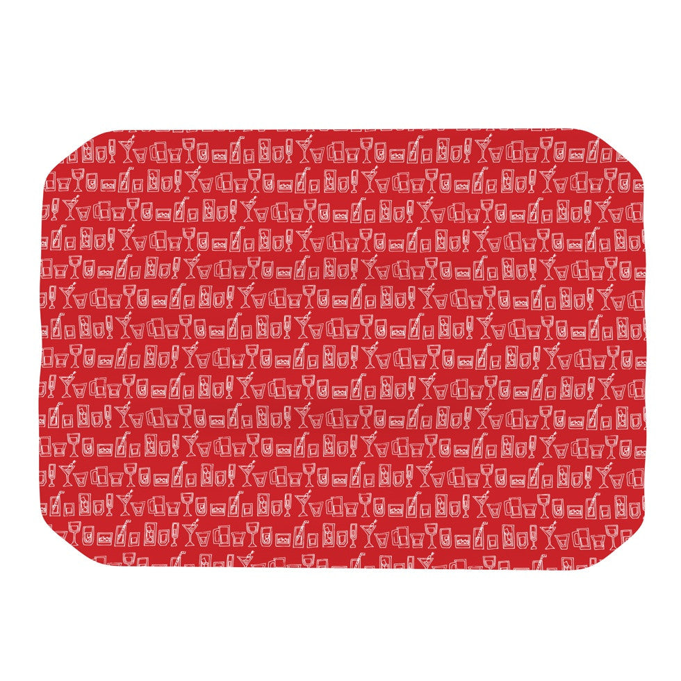 "Holly Helgeson ""Glass Half-Full"" Red White Place Mat - KESS InHouse"