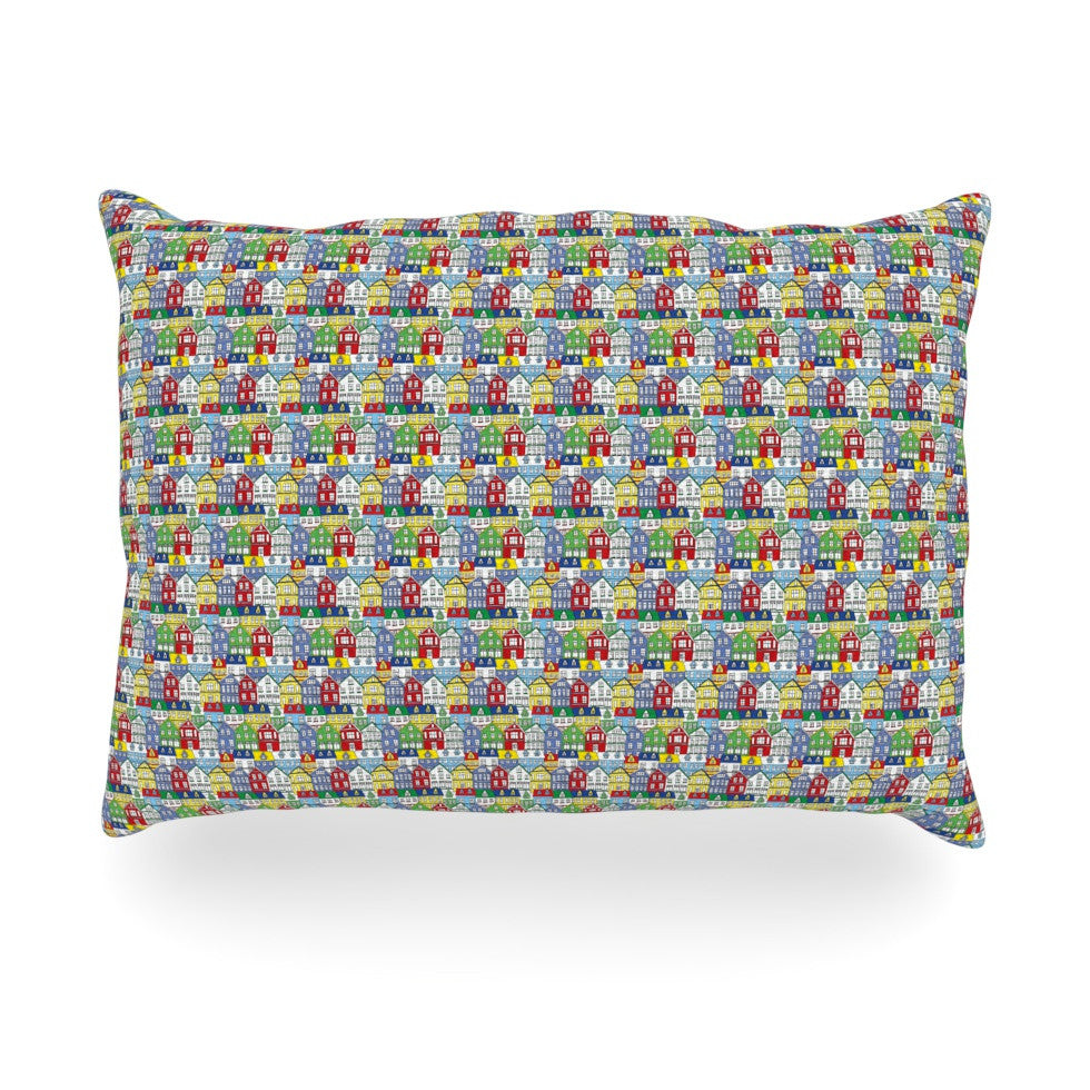 "Holly Helgeson ""Reykjavik"" Rainbow Pattern Oblong Pillow - KESS InHouse"