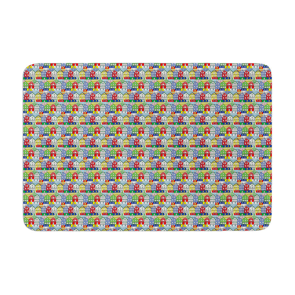 "Holly Helgeson ""Reykjavik"" Rainbow Pattern Memory Foam Bath Mat - KESS InHouse"