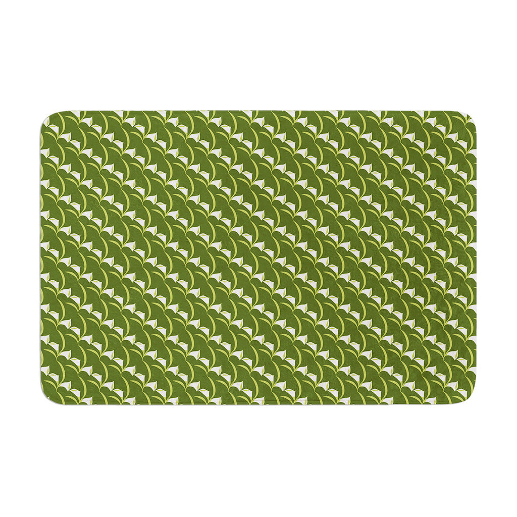 "Holly Helgeson ""Deco Calla Lily"" Green White Memory Foam Bath Mat - KESS InHouse"