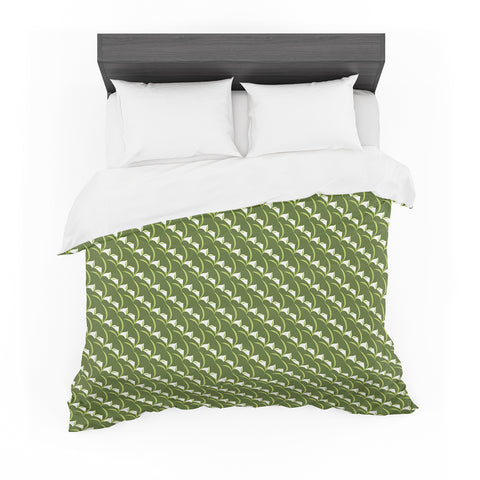 "Holly Helgeson ""Calla Lilly"" Green White Pattern Featherweight Duvet Cover - Outlet Item"