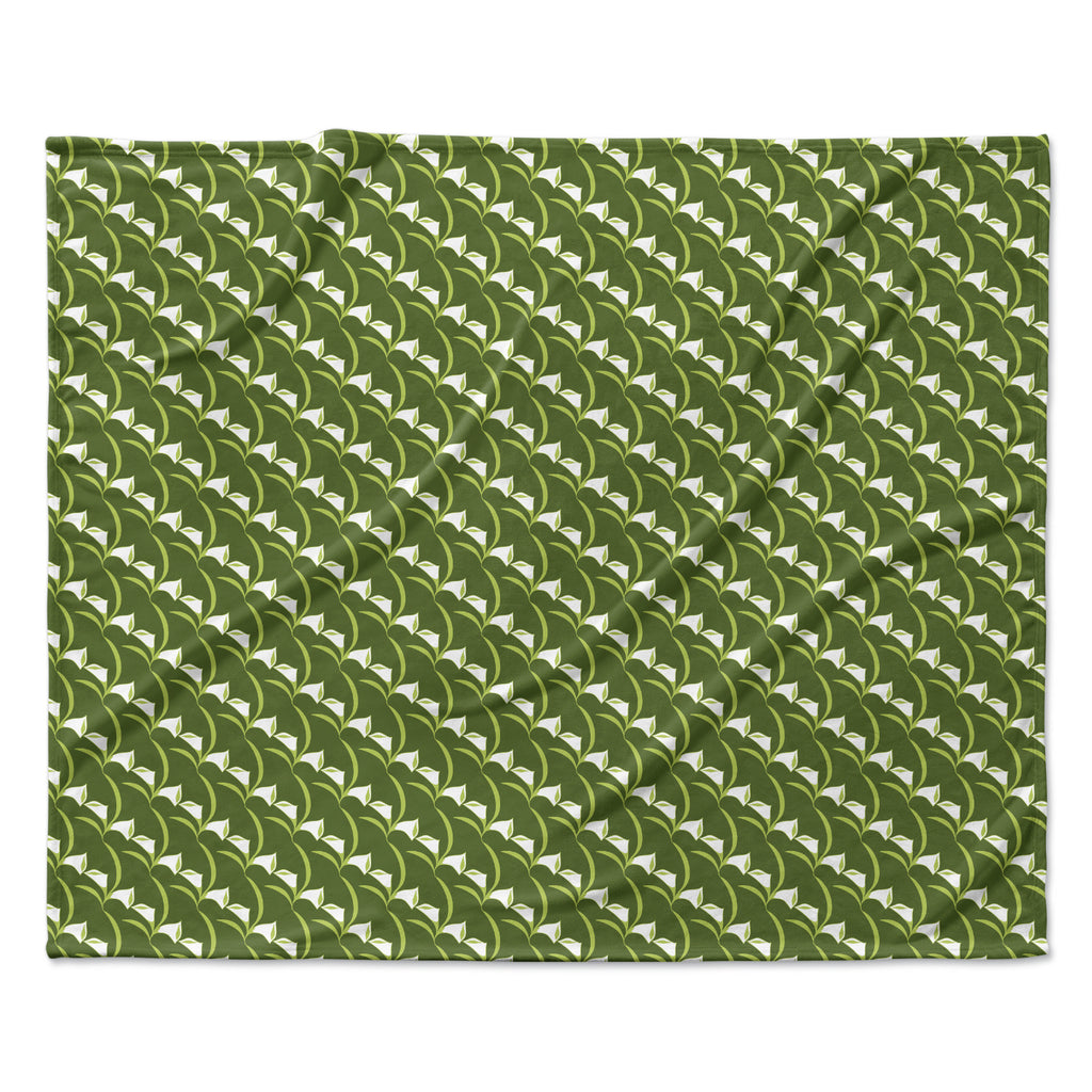 "Holly Helgeson ""Deco Calla Lily"" Green White Fleece Throw Blanket"