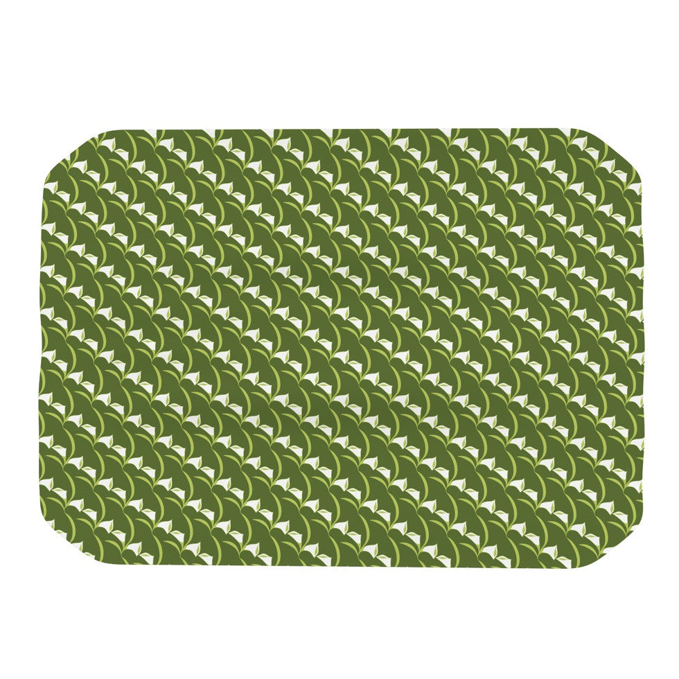 "Holly Helgeson ""Deco Calla Lily"" Green White Place Mat - KESS InHouse"