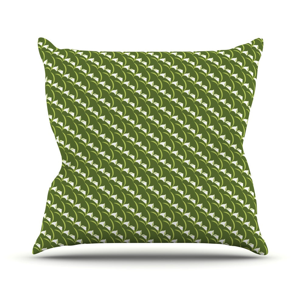 "Holly Helgeson ""Deco Calla Lily"" Green White Outdoor Throw Pillow - KESS InHouse  - 1"