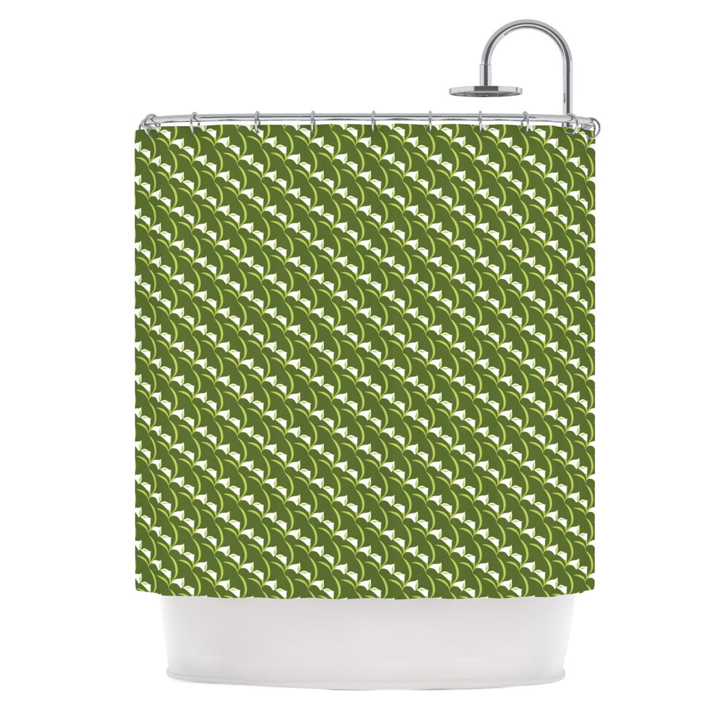 Holly Helgeson Deco Calla Lily Green White Shower Curtain