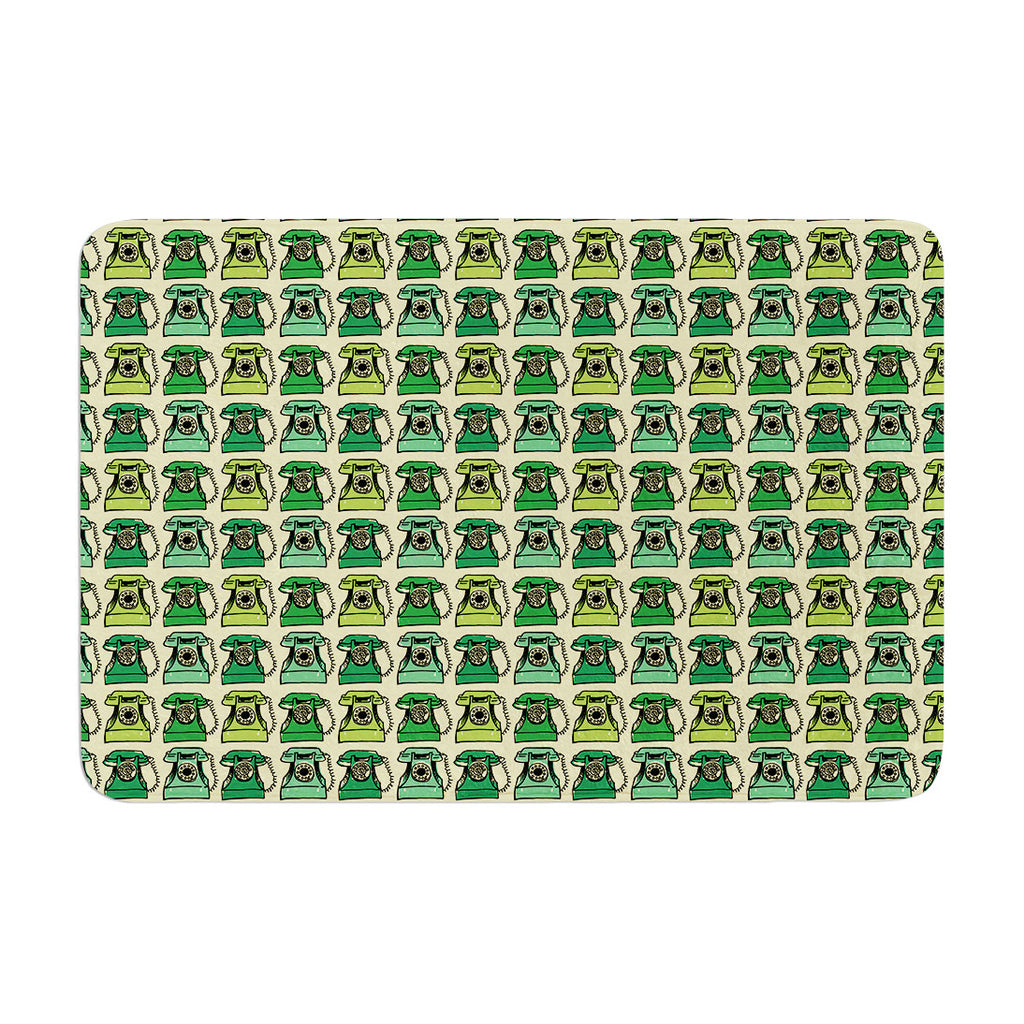 "Holly Helgeson ""Vintage Telephone"" Green Pattern Memory Foam Bath Mat - KESS InHouse"
