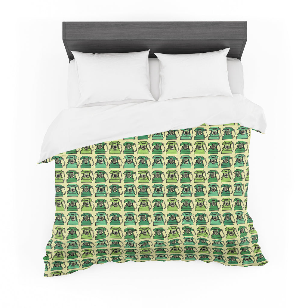 "Holly Helgeson ""Vintage Telephone"" Green Pattern Featherweight Duvet Cover"