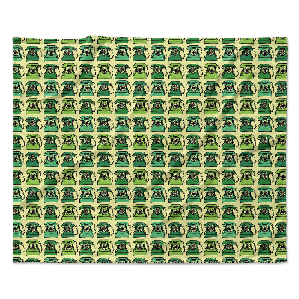 "Holly Helgeson ""Vintage Telephone"" Green Pattern Fleece Throw Blanket"