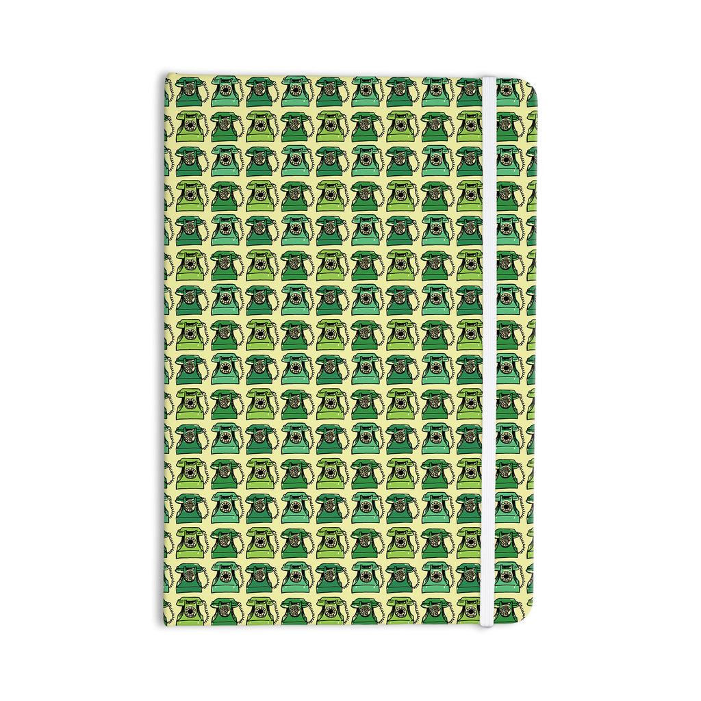"Holly Helgeson ""Vintage Telephone"" Green Pattern Everything Notebook - KESS InHouse  - 1"