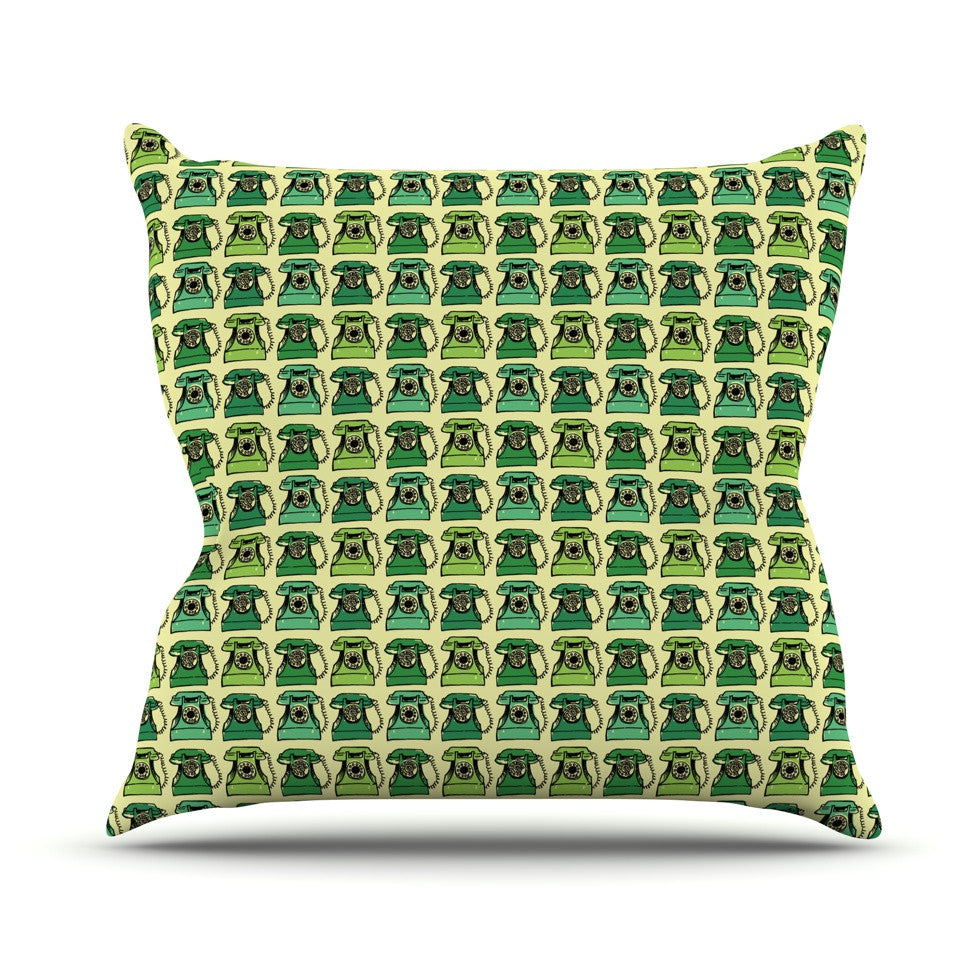 "Holly Helgeson ""Vintage Telephone"" Green Pattern Throw Pillow - KESS InHouse  - 1"