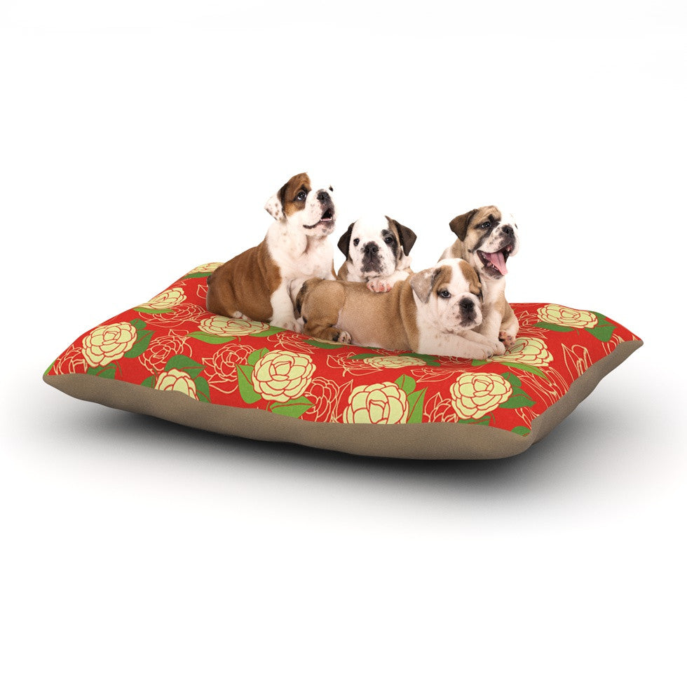 "Holly Helgeson ""Cammelia"" Red Yellow Dog Bed - KESS InHouse  - 1"