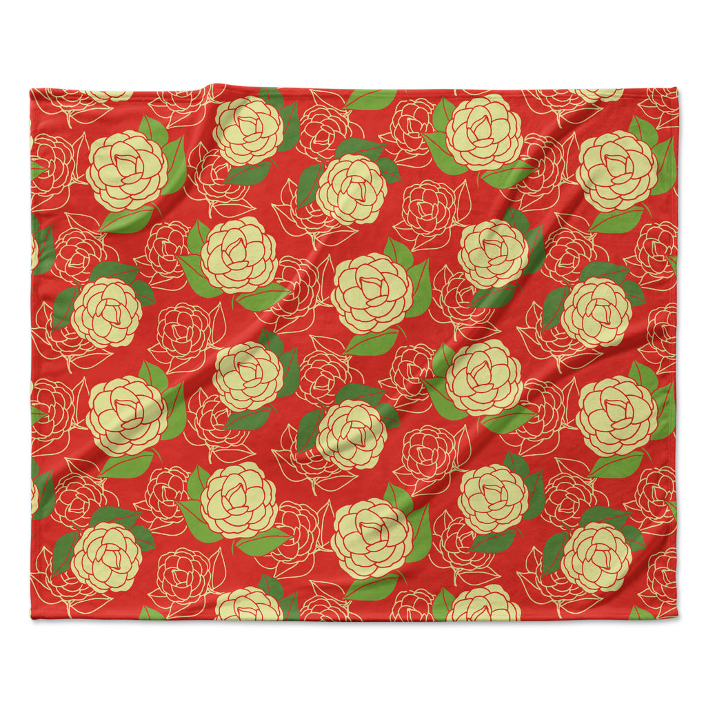 "Holly Helgeson ""Cammelia"" Red Yellow Fleece Throw Blanket"