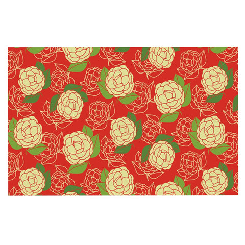 "Holly Helgeson ""Cammelia"" Red Yellow Decorative Door Mat - KESS InHouse"