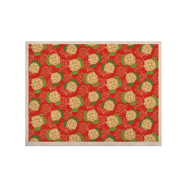 "Holly Helgeson ""Cammelia"" Red Yellow KESS Naturals Canvas (Frame not Included) - KESS InHouse  - 1"