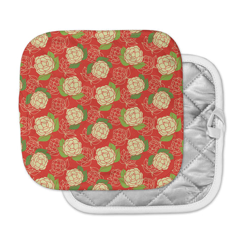 "Holly Helgeson ""Cammelia"" Red Yellow Pot Holder"
