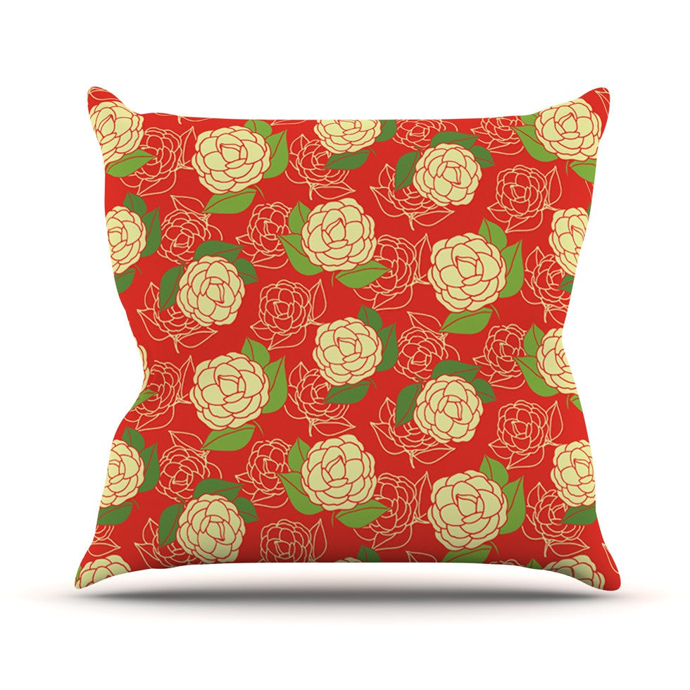 "Holly Helgeson ""Cammelia"" Red Yellow Throw Pillow - KESS InHouse  - 1"