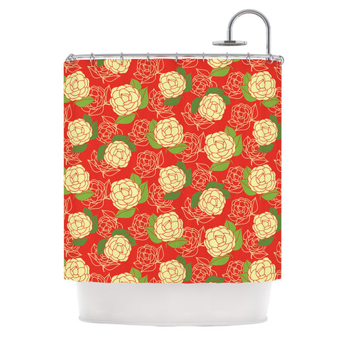 "Holly Helgeson ""Cammelia"" Red Yellow Shower Curtain - KESS InHouse"