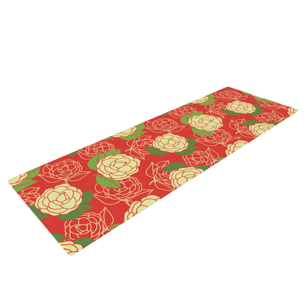 "Holly Helgeson ""Cammelia"" Red Yellow Yoga Mat - KESS InHouse  - 1"