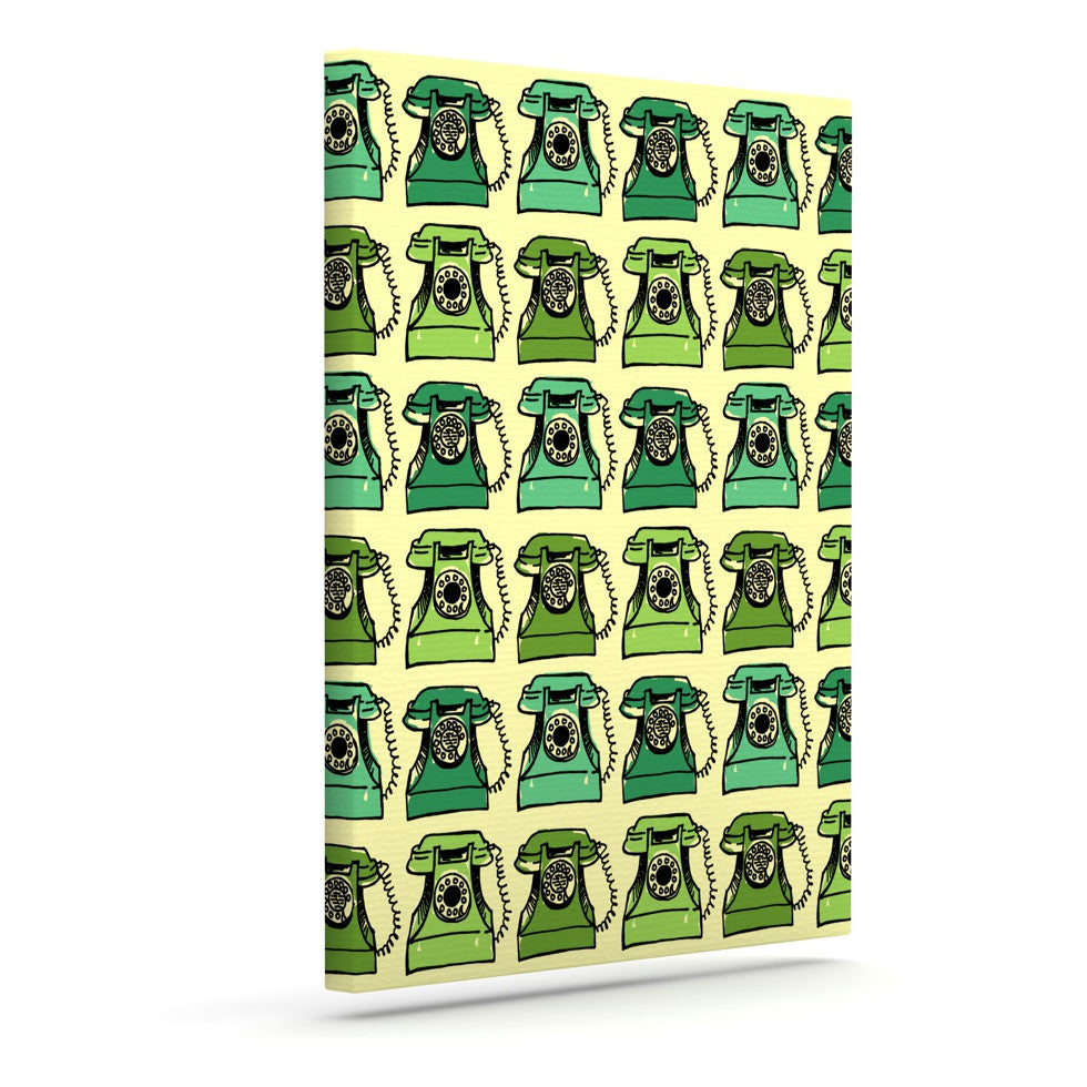 "Holly Helgeson ""Grandma's Telephone"" Green Yellow Outdoor Canvas Wall Art - KESS InHouse  - 1"